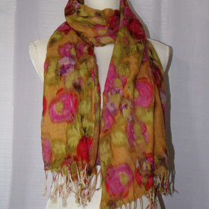 J CREW Colorful Floral 100% Wool Scarf with Fringe